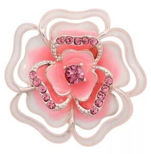Rose Gold White Enamel Pink Rhinestone Flower 20mm Snap Charm For Ginger Snaps