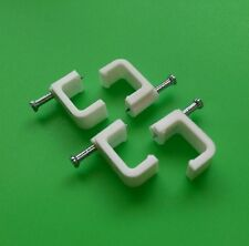 (Bag of 100) Dual Cable Clips for Dual RG59 RG6 Cable - White