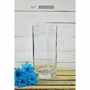 Thick Glass Vase Handmade Square Clear for Flowers 30 cm