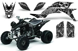ATV Graphics Kit Decal for Yamaha YFZ450 2004-2014 SKULLSNHAMMERS WHITE