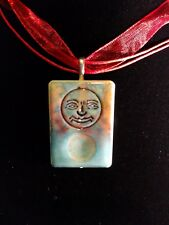 Joker face necklace Handcrafted tye dye alcohol ink pendant blue & purple OOAK