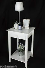 SQUARE White Wood Elegant  Side Table - Lamp, Coffee, Bedside, Hall, Occasional