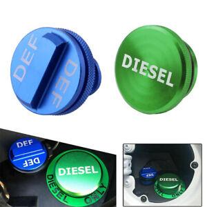 Green DIESEL Fuel Cap & Blue DEF Cap For 2013-2019 Dodge Ram 2500 3500 Cummins