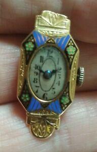 18ct Gold Enamel Ladies Watch Head.