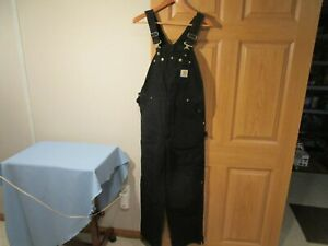 Carhartt Men's Black R02 Insulated Quilt Lined Bib Overalls Size 34 x 32