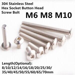 M6 M8 M10 304 Stainless Steel Hex Socket Button Head Screw Bolt 5/10/20/50 pcs