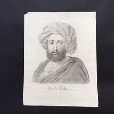 Grand Dessin Original TETE DE PACHA - 1er Empire Début XIXè Napoleonic Drawing