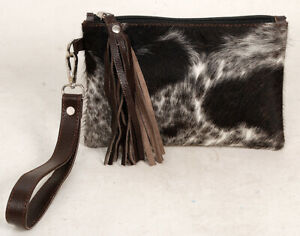 """Real Cowhide Leather Wristlet Clutch Wallet Double Side Hairon 8.5""""x5.5"""" RW-2519"""