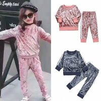 2PCS Kids Baby Girls Toddler Velvet Shirt Tops+Pants Leggings Clothes Sets