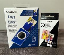 Canon IVY CLIQ+ 8MP Instant Camera Printer - Sapphire Blue + 50 Sheets
