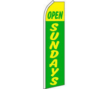 Open Sundays Yellow / Green Swooper Super Feather Advertising Flag