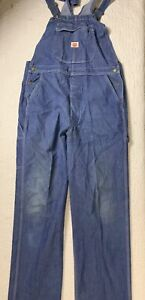 Vintage Red Kap Blue Denim Bib Overalls Work Clothing All Cotton Men Size 40x33