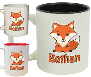 Personalised Fox Name Novelty Mug / Cup   Cute animal gift coffee tea