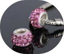 2 x Mauve Rhinestone Glass Beads Charm fits European Bracelet Necklace 5mm Hole