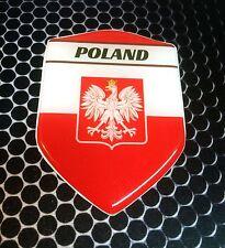 "Poland Polska Proud Shield Flag Domed Decal Emblem Car Sticker 3D 2.3""x 3.3"""