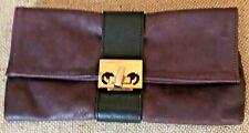 Joanna Maxham Deep Plum/Black Leather Nite Cap Clutch Bag
