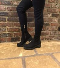 Ladies Black Suede Thigh High Boots Size UK 7 EU 41 Platform Over The Knee VGC