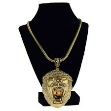 "Lion Head Iced-Out King Size Chunky Hip Hop Pendant Gold Finish 36"" Franco Chain"