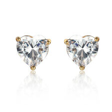 Fashion 14k gold filled clear crystal cute heart womens stud earrings For Girl
