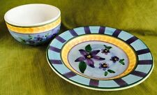 """Himark Portuguese Pottery Floral Fruit Hand Painted 10"""" Plate & Bowl Portugal"""