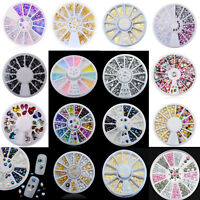 3D Nail Art Rhinestones Glitters Studs Acrylic Tips Decoration Manicure Wheels
