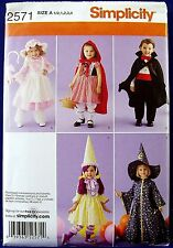 Simplicity Child's Halloween Costume Sewing Pattern Red Riding Hood Wizard 2571