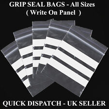 Grip Seal With Write-On-Panel Re-Sealable Polythene Bags CHEAPEST WOP