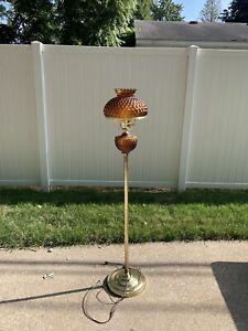"Vintage Amber Glass Floor Lamp~54"""