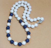8mm White Akoya Shell Pearl & Lapis Lazuli Round Beads Necklace AAA Hand Knotted