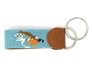 Leather Handstitched Needlepoint Fly Fishing Key Fob Key Chain