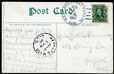 Postcard - West Boothbay Harbor ME TO Medford MA - JUN 5 1907 STEAMBOAT - S6422