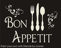 Bon Appetit STENCIL French Scroll Shabby Cottage Kitchen Eat Fun Fork Knife Sign