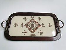 Antique serving tray with metal handles, glass cover and embroidery underneath