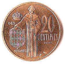 MONACO 20 centimes essai OR 1962, frappé à slt 500 ex.