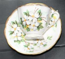 Vintage 40s ROYAL ALBERT Bone China England WHITE DOGWOOD Pattern Cup &Saucer