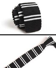 Men's Black White Striped Tie Knit Knitted Necktie Slim Narrow Skinny ZZLD048