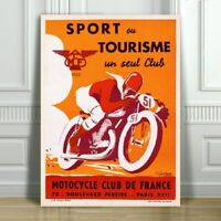 """VINTAGE MOTOR CYCLE AD CANVAS ART PRINT POSTER - Motor Cycle Club France -16x12"""""""
