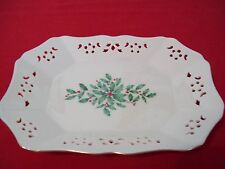 "LENOX HOLIDAY CHINA  PIERCED DISH 9""X 6.5"" DIMENSION PATTERN  NWOT MADE IN USA"