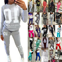 Lady Womens Tracksuit Hoodies Sweatshirt Pants Set Casual Sport Wear Lounge Suit
