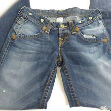 True Religion Ella Heritage Big T Medium Wash Blue Jeans Size 29 Wide Leg
