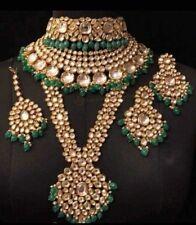 Real Polki Ad CZ Handmade Bollywood Jewelry Kundan Necklace Set Statement Bridal