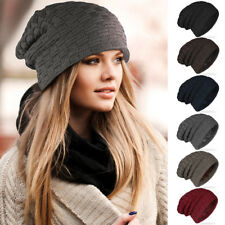 Women Men Stretch Cable Knit Lined Thick Warm Winter Wool Slouchy Beanie Hat Cap