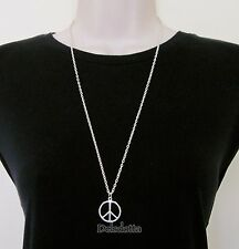 FANCY DRESS PEACE SIGN NECKLACE 30 INCH CHAIN HIPPY 1960s ACCESSORIES JEWELLERY2