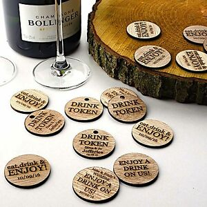 Wooden Drink Tokens. Personalised Rustic Discs. Wedding Guest FavoursFree Drink
