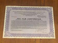 Fox Film Corporation Purple Stock Option Subscription Warrant c. 1930