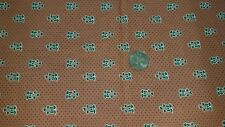 "COTTON FABRIC - GREEN HEART FLORALS ON SALMON ""SPRING NICOLE BY SILK TIE RJR BTY"