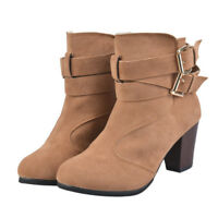 Fashion Women's Buckle Winter Thick Platform High Heel Zipper Ankle Boots Gift