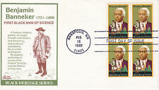 1980 FIRST DAY COVER FDC BLACK HERITAGE BENJAMIN BANNEKER ISSUE BAZAAR CACHET