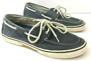 SPERRY TOPSIDER Halyard Mens 9.5M Boat Shoes Acid Wash Blue Canvas-DEFECTS