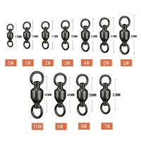 Black Fishing Ball Bearing Swivel Solid Rings Stainless 0/1/2/3/4/5/6/7/8/9/10#